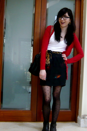 red Topshop cardigan - black lux uo skirt - black American Apparel tights