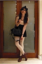 black H&M dress - beige American Apparel tights - black balenciaga accessories -