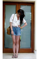blue Topshop shorts - white thrift blouse - brown dads accessories
