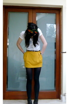 white Topshop blouse - gold asos skirt - blue American Apparel tights - brown Ur