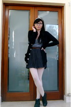navy Lux skirt - gray American Apparel vest - black American Apparel cardigan -