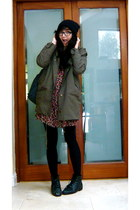 brick red Topshop dress - olive green asos coat - blue fjallraven kanken bag - b