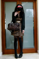 brown flowers Lux dress - black cheap asos boots - brown city balenciaga bag