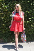red vintage dress - light purple sequined Betsey Johnson bag