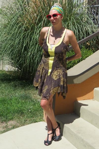 dark brown silk Sass and Bide dress - chartreuse silk dior scarf
