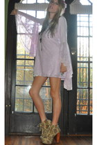 light purple wildfox couture dress - off white crochet Jeffrey Campbell boots