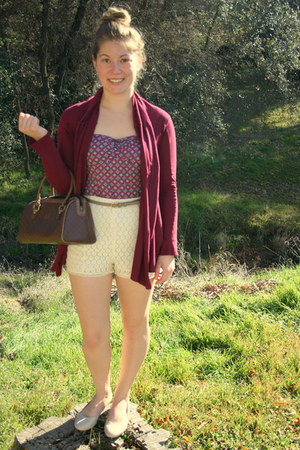 maroon thrifted cardigan - brown unknown bag
