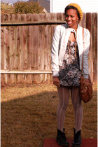 gray H&M jacket - gray Zara dress - white Urban Outfitters tights - black doc ma