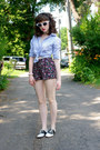 Black-saddle-payless-shoes-blue-knotted-j-crew-shirt