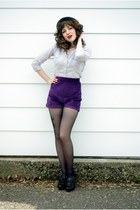 deep purple high waisted made by me shorts - black bowler Divided hat