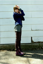 gray Delias cardigan - purple doc martens boots - brown Forever 21 pants - blue