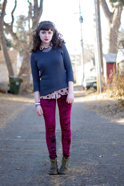 polka dot unknown blouse - crushed velvet romwe leggings