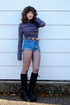 cut offs Guess shorts - knee high unknown boots - turtleneck forever 21 sweater