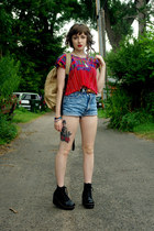 red handmade shirt - dark khaki unknown bag - blue cut off Guess shorts