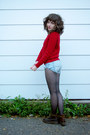 Red-cableknit-ralph-lauren-sweater-dark-brown-doc-martens-boots-black-tights