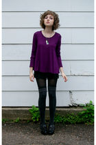 black Target skirt - purple Urban Outfitters shirt - black HUE tights - gray Tar