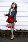 Black-faux-leather-h-m-jacket-crimson-nine-west-purse-gold-colin-stuart-heel