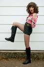 Black-knee-high-dont-remember-boots-salmon-exotic-bird-vintage-shirt