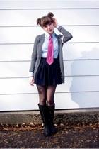 navy Zara skirt - black kick ass unknown boots