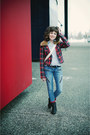 Black-mustang-boots-blue-skinny-zipper-material-girl-jeans-brick-red-plaid-h