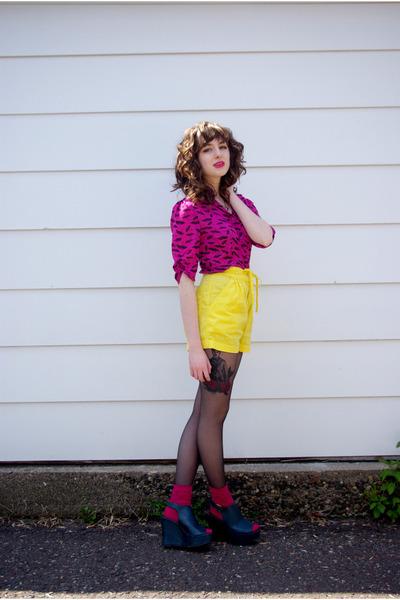 teal Madden Girl wedges - hot pink umbrella print bettie page shirt