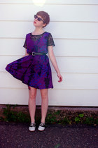 deep purple fantasy print unknown dress - black saddle Payless shoes