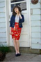 red kitty peplum made by me skirt - navy Divided blazer