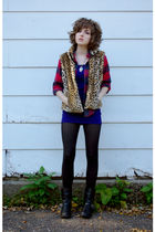 black Dirty Laundry boots - black HUE tights - purple Urban Outfitters dress - b