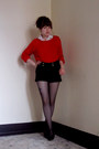 Red-zara-sweater-black-h-m-shorts