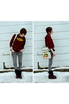 purple doc martens boots - red Lands End shirt - gray Cheap Monday jeans - white