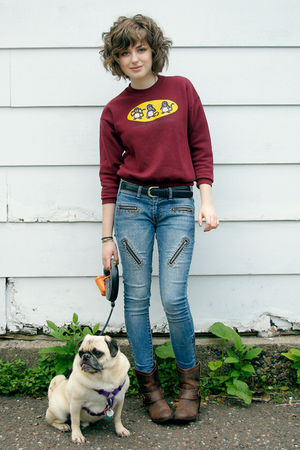 brown Target boots - blue material girl jeans - red Monkey Business sweater - be