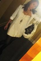 black Gucci purse - black Forever 21 purse - black Zara boots - white H&M blazer