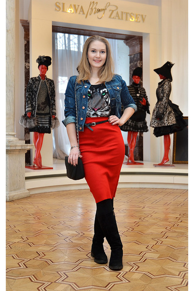 Taobao skirt - Тофа boots - H&M jacket - oodji bag - W&L top