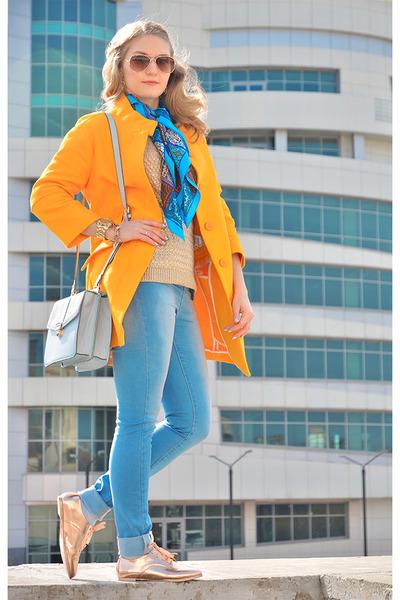 asos boots - Zara coat - asos jeans - Accessorize bag - Mango jumper