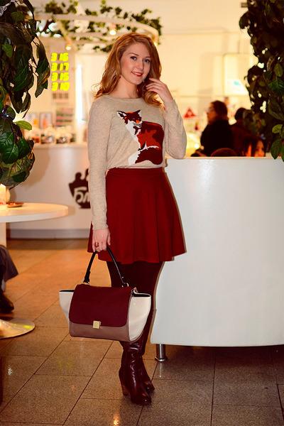 Elche boots - Celine bag - insity jumper - asos skirt - Accessorize earrings