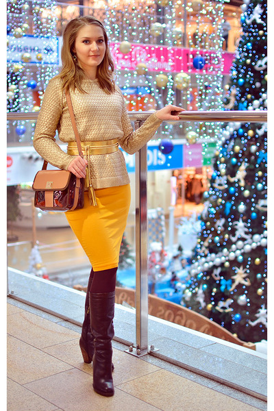 Elche boots - asos dress - Mango sweater - Zara bag - Aliexpress belt