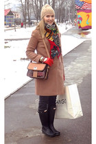 Hermes scarf - Hunter boots - kira plastinina coat - asos hat - Zara bag