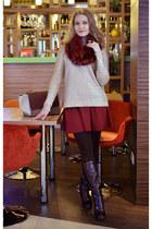 asos scarf - Elche boots - Celine bag - asos skirt - Mango jumper