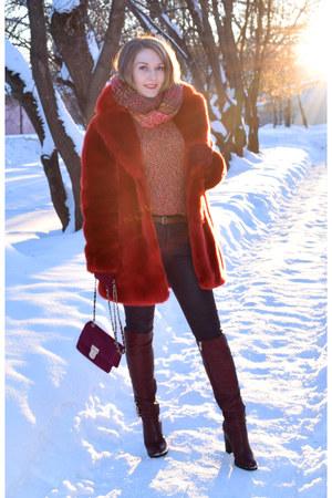 hm coat - Zara jeans - asos bag - hm jumper