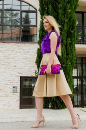 beige Zarina skirt - deep purple Zara top - beige Steve Madden heels