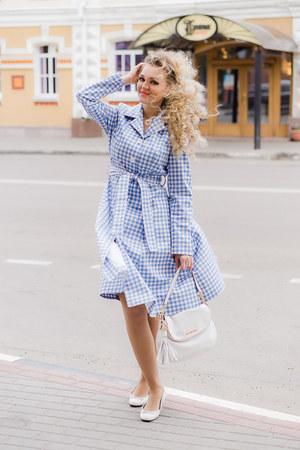 light blue BonPrix dress - white Michael Kors bag