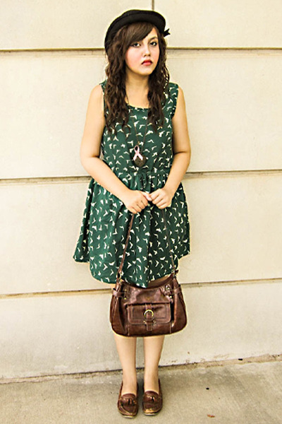 green chiffon dress - black hat - brown thrifted vintage bag