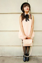 light pink bag - black platform boots - light pink dress - black bowler hat hat