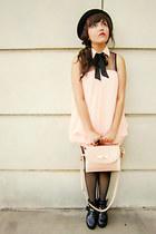 light pink bag - black platform boots - light pink dress - black bowler hat hat