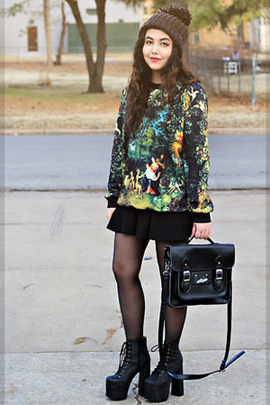 dark green Printed Sweater sweater - black Jeffrey Campbell boots