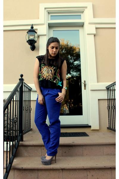 blue madewell pants - violet slingback sam edelman pumps