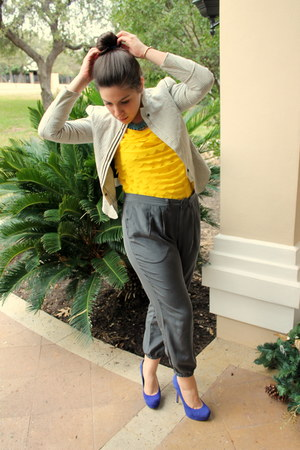 periwinkle Zara blazer - charcoal gray Broadway & Broome pants