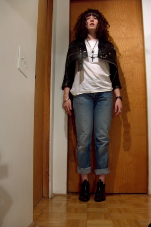 jacket - H&M t-shirt - Levis jeans - - TUBES winklepickers Italy shoes - the gre