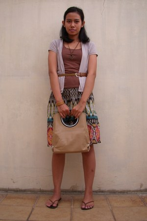 beige Bellezza bag - bronze handmade bracelet - dark brown handmade necklace - b