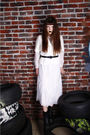White-vintage-dress-white-linen-jacket-black-leather-belt-black-thrift-boo